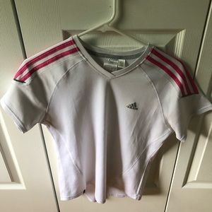 Adidas White T-shirt with Pink Striped Sleeves